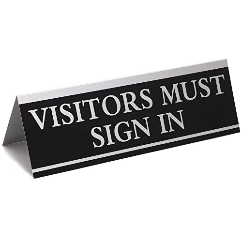 Juvale Visitors Must Sign in Office Sign (6 Pack) Black and Silver