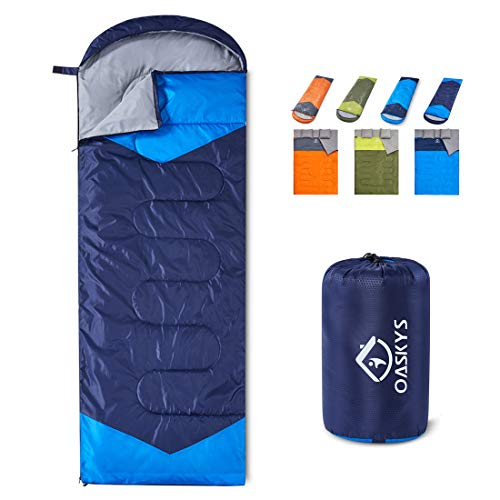 oaskys Camping Sleeping Bag - 3 Season Warm & Cool Weather - Summer, Spring, Fall, Lightweight, Waterproof for Adults & Kids - Camping Gear Equipment,...