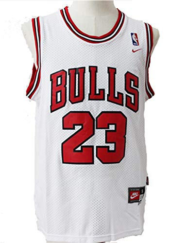 SWW Mens NBA Michael Jordan #23 Chicago Bulls Basketball Jersey Retro Gym Vest Top, Bianco, L