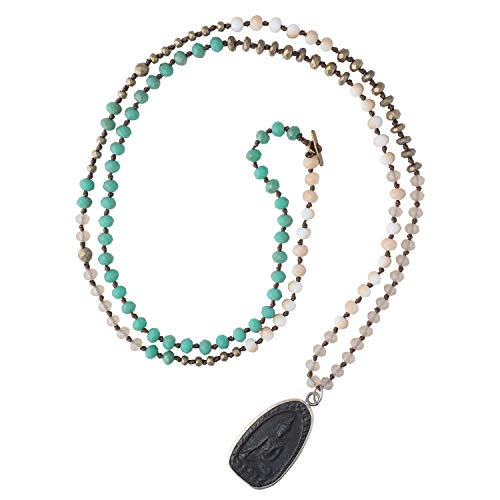 C·QUAN CHI Sakyamuni Buddha Strand Necklace Newest Long Necklaces Lucky Religious Beaded Necklace Jewelry for Women Gifts for Girls (01-Green)