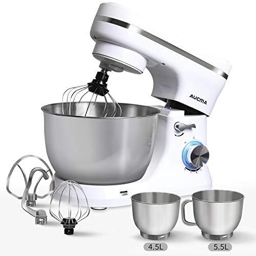 Küchenmaschine,AUCMA 1300W Hochleistungs-Knetmaschine mit 5,5L Edelstahl-Rühlschüssel, Rührbesen, Knethaken, Schlagbesen, Spritzschutz, 8 Geschwindigkeit Geräuschlos Teigmaschine,Weiß