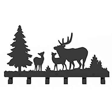 Wander Agio Deer Tree Forest Elk Cartoon Animal Metal Wall Mounted Bag Hanger Coat Rack Clothing Hooks Hanging Racks Black