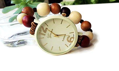 Orologio da polso bracciale elastico con perle legno marrone beige bordeaux Regalo fidanzata donna