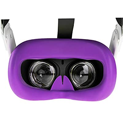(1 Pack) Orzero Silicone Face Cover Skin Compatible for Oculus Quest 2, Standard Eye Pad, Sweatproof Light Blocking (Washable) for Virtual Reality Headset - Purple
