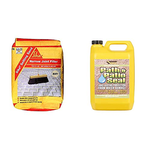 Sika Setting Sand - Narrow Joint Filler For Paving, Buff, 20 kg & Everbuild 405 Path & Patio Seal Path and Patio, Clear, 5 Litre