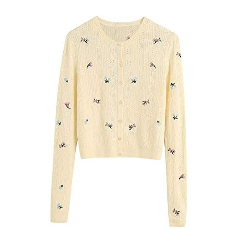 WOOAI 2020 NEU Damenpullover gelb Stickknopf O-Ausschnitt Langarmpullover Mode Casual Female Tops, gelb, L.