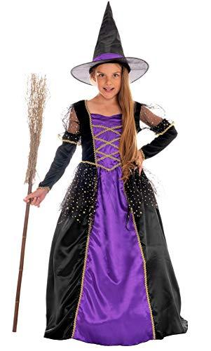 Magicoo - Costume da strega principessa, per bambine, colori lilla, nero e oro, con vestito e cappello. taglia da 110 a 140, costume da strega per Halloween, per bambine