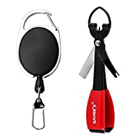 SAMSFX Fishing Quick Knot Tying Tool 4 in 1 Fly Line Clippers with Zinger Retractor Combo (Black)