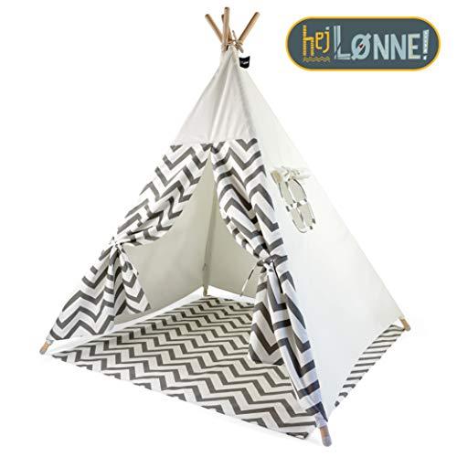 Hej Lønne Tipi Zelt für Kinder - Grau Zackenmuster - Kinderzelt Spielzelt Geschenkidee - Mit Bodendecke und Fenster - Für Haus und Garten