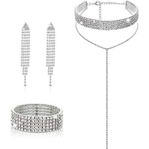 Diamond Tassel Jewelry Set, Rhinestone Stretch Bracelet Long Chandelier Tassel Dangle Earrings Silver Plated Gothic Long Choker Tassel Necklaces