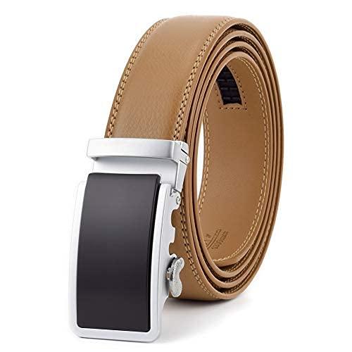 FZYE Cinturón de Cuero para Hombre Cinturón para Hombre Cinturones de Hebilla automática para Hombre Correa de Cintura para Hombre (Longitud del cinturón: Cintura 38 39, Color: Marrón c