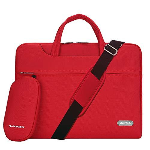 YOUPECK Water Repellent 14-15 Inch Laptop Shoulder Bag Compatible MacBook Pro 15.4, Ultrabook Chromebook 14, Polyester Protective Messenger Briefcase Men Women Carrying Handbag Sleeve Case, Red