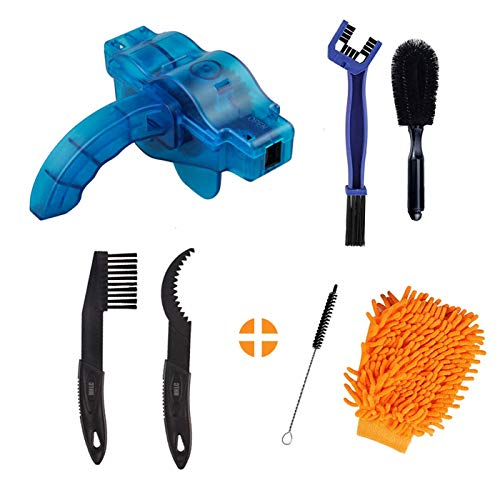 Bicycle Cleaning Brush Tools Set Including Bike Chain Scrubber, Suitable for Mountain, Road, City, Hybrid, BMX and Folding Bike, Bike Chain Cleaner (7Pcs)