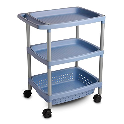 Tatay Carrito Auxiliar baño 7738108-Mueble 3 estantes y Ruedas, PP, Azul, 36 x 64 x 52 cm, 52x36x63 cm