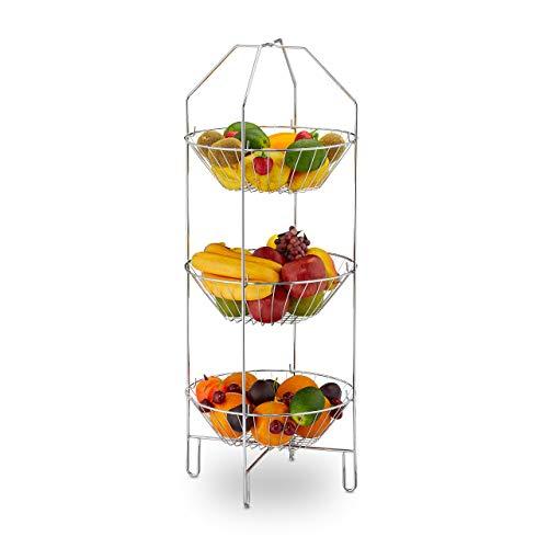 Relaxdays 10030054 Obst Etagere 3-stöckig, XXL Obstkorb, stehend, Küche, Aufbewahrung Gemüse, Metall, HBT 80 x 33 x 32 cm, Silber, Stahl