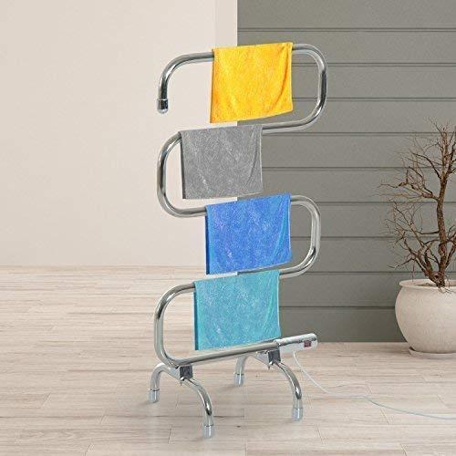 garden mile® Modern 70w Chrome Electric Heated Towel Rail Portable Towel...