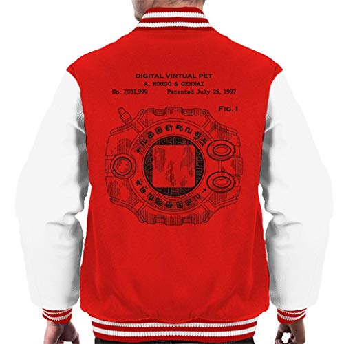 Cloud City 7 Digimon Digital Virtual Pet Patent Men's Varsity Jacket