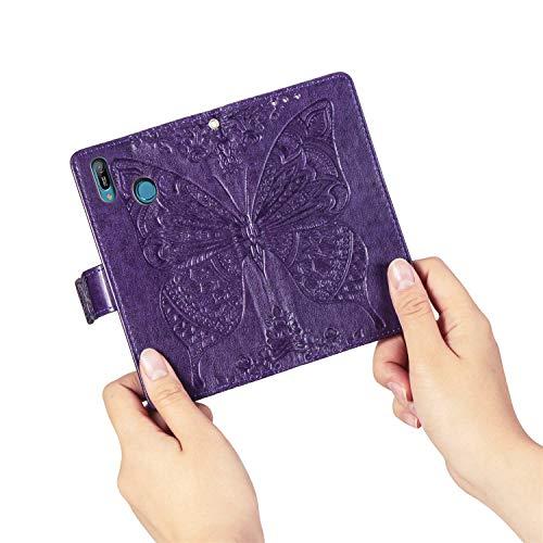 HMTECH Huawei Y6 2019 Hülle,Huawei Y6 2019 Handyhülle Prägung Schmetterling Blumen Flip Case PU Leder Magnet Schutzhülle Handytasche für Huawei Y6 2019,SD Butterfly Dark Purple