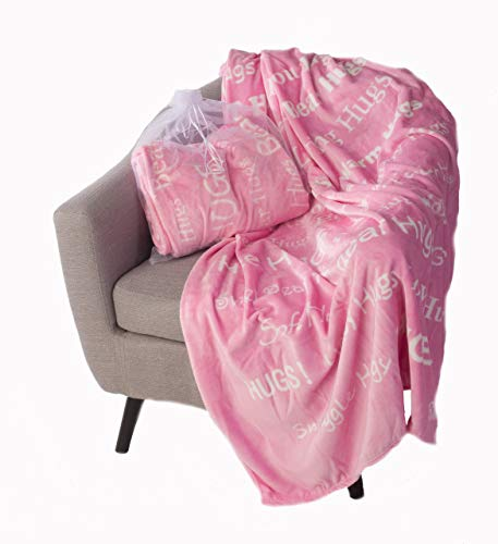 BlankieGram Hugs Throw Blanket Gift for Friends and Family with Inspirational Messages for Positive Energy, Compassion, and Serenity (Pink)