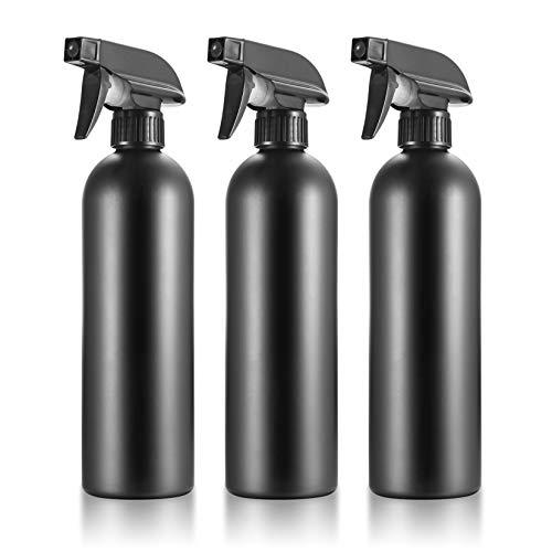 3PCS Botella de Spray Vacías de Plástico de 500 ml, Pulverizador Agua de limpieza, Bote Spray Pulverizador, Vaporizador de Agua para Plantas, Limpieza, Cocina - Negro
