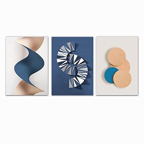 Gradient Circle Origami Geométrico Lienzo Posters e impresiones Pintura abstracta Cuadros de pared para sala de estar Decoración moderna para el hogar 40x60cmx3 Sin marco