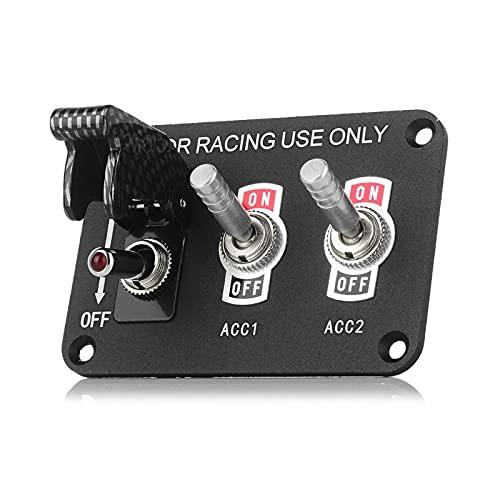 HSMIN. Panel de interruptores de automóviles 12V 20A interruptor de conmutación encendido de apagado 2/3 posiciones Ajuste de aluminio para la fibra de carbono deportiva de carreras Rápido de la cubie
