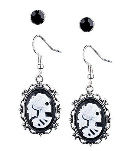 SIX Ohrringe: 2er-Set Gothic Ohrhänger im Victorian-Stil mit Lolita Skull und Ohrstecker, auch für Fasching und Halloween, Karneval, Kostüm (732-986)