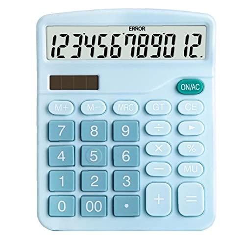 calculadora de escritorio, función estándar electrónico básico grande de 12 dígitos Pantalla LCD grande del botón calculadora, para Daily Oficina azul, pluma de la pluma,