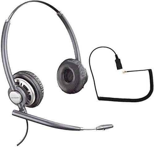 Polycom Compatible Plantronics VoIP Ultra Noise Canceling Hw720 Duo Headset Bundle   SoundPoint, VVX and CX Phones: IP300, IP500, IP600, CX200, CX700