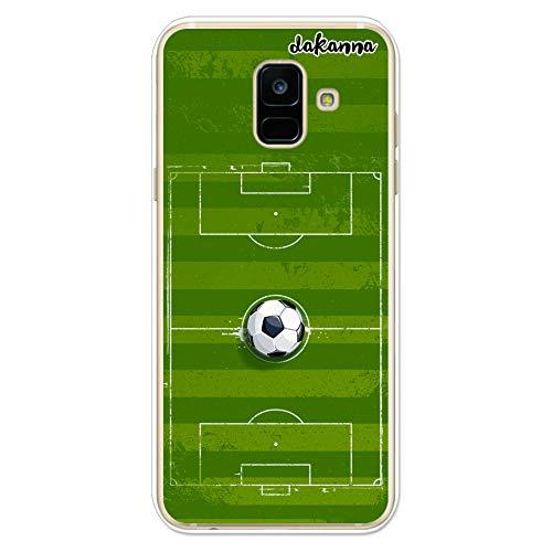 dakanna Funda para Samsung A6 2018 | Campo y balón de fútbol | Carcasa de Gel Silicona Flexible Transparente