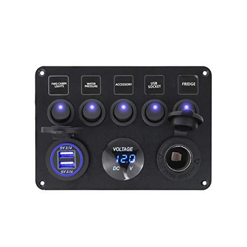 MMYX 5 Panel de interruptores de Bote de pandillas Panel de Interruptor de automóvil Impermeable Voltímetro Digital Dual USB Puerto 12V Combinación de Salida Marina LED Rocker (Color : Blue)