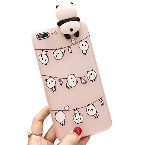 Ekakashop kompatibel mit iPhone 7 Plus Hülle Squishy,3D Hülle kompatibel kompatibel mit iPhone 8 Plus,Cute Aufhänger Panda Stress Weiche Silikon Hybrid Stoßdämpfend Schutzhülle Flexible Bumper,EINWEG