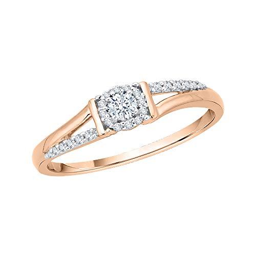 KATARINA Anillo de compromiso con racimo de diamantes en oro de 14 k (1/5 cttw, G-H, I2-I3)