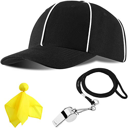 Adjustable Black with White Stripes Football Cap, Official Referee Hat and Stainless Steel Whistle with Lanyard for Football Refs, Umpires, Linesman