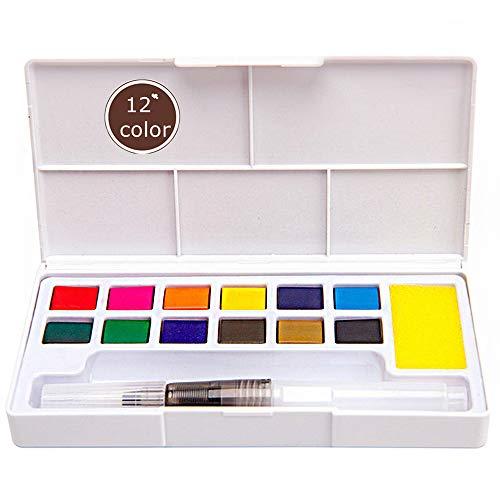 Ebanku Conjunto de Pintura de Acuarela 12 Colores de Viaje de Bolsillo, para Principiantes, Niños, Artistas al Aire Libre, Pintura de Boceto de Campo