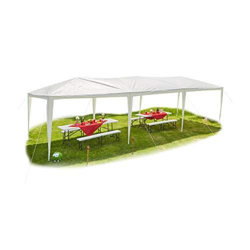 Relaxdays Pavillon 3x9, offen, ohne Seitenteile, Festival, Gartenpavillon für Partys, PE-Dach, Stahl, 300 x 900 cm, weiß