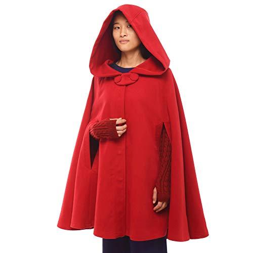 GRACEART Donna Poncho Mantella Lungo Largo alla Moda con Bottoni Cosplay Mantello (Corto-Rosso)