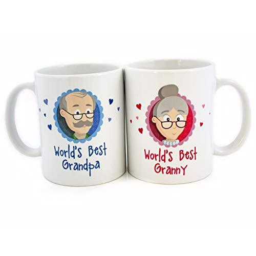 """Oma Opa Geschenke - Geschenk für Oma und Opa - Oma Tasse und Opa Tasse Set """"World`s Best Granny/Best Grandpa"""" als super Oma und Opa Geschenkideen - Geschenk Oma und Geschenk Opa mit GRATIS Glückwunschkarte - Oma Geschenk und Opa Geschenk zu Weihnachten und Geburtstag von MyOma"""