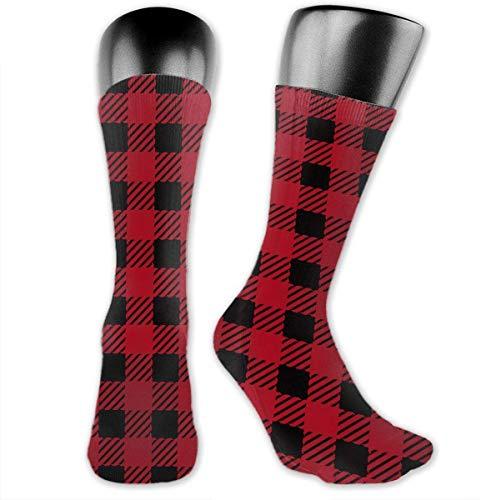 zhouyongz Calcetines deportivos unisex de cuadros de búfalo rojo y negro, 30 cm