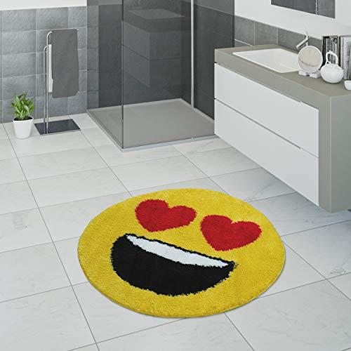 Paco Home Badematte, Kurzflor-Teppich Für Badezimmer Mit Herzaugen Smiley,In Gelb, Grösse:60x60 cm