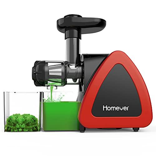 Homever Estrattore di Succo a Freddo, BPA Gratuito Estrattore Frutta Verdura e Verduracon Motore Silenzioso e Funzione Inversa, Spremiagrumi a Freddo Facile da Pulire con Pennello