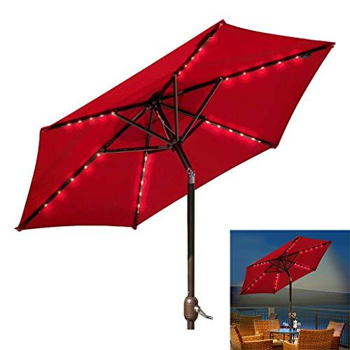 WYFDM - Paraguas de patio con luces solares y base para jardín, terraza, patio, piscina, color beige, Rojo, 2 m