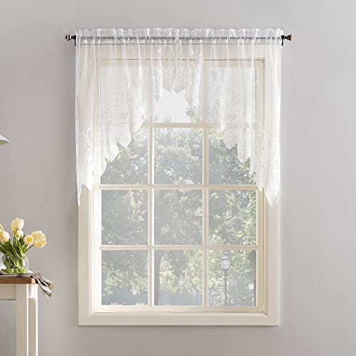 "No. 918 Joy Macrame Lace Trim Semi-Sheer Rod Pocket Kitchen Curtain Swag Pair, 60"" x 38"", White"