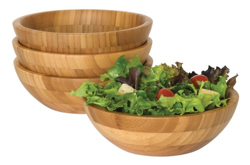"Lipper International Bamboo Wood Salad Bowls, Small, 7"" Diameter x 2.25"" Height, Set of 4 Bowls"