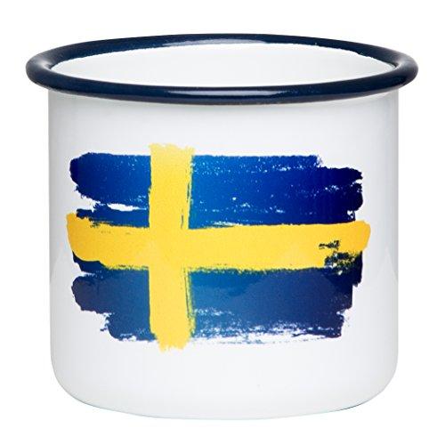 SCHWEDEN - Hochwertige Emaille Tasse mit Schweden Flagge, leicht und bruchsicher, für Camping und Outdoor Fans - von MUGSY.de
