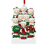 RYGHEWE Personalized Deer Family of 2, 3, 4, 5, 6 ,7 & 8 Christmas Tree Ornament 2021 - Cute Santa Deer Winter Gift Year Durable 2021 Family Xmas Decorating Set Creative Gift (Friends, Family of 8)