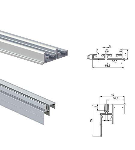 Emuca -Sistema corredero para armario 2 puertas colgadas, espesor 19-20 mm, cierre suave, tableros no incluidos, perfiles Aluminio, Anodizado mate