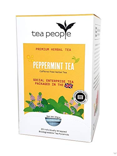 Tea People Peppermint Tea, 20 Individually Wrapped Herbal Tea Pyramids in A Dispensing Box, 60 g
