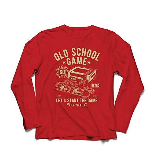 lepni.me Camiseta de Manga Larga para Hombre Nacido para Jugar - Juego de la Vieja Escuela, Regalos para videojugadores (XX-Large Rojo Multicolor)