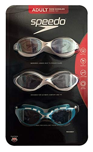 Speedo 3 Pack Adult Swimming Goggles, White, White, Aqua